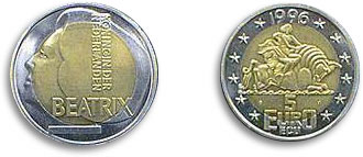 1996 5 Euro Coin Europa Riding The Bull